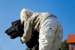 девушка собаки она Стоковые Изображения RF