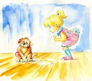 девушка собаки иллюстрация вектора