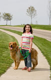 девушка собаки Стоковое Изображение