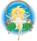 девушка солнечная Иллюстрация штока
