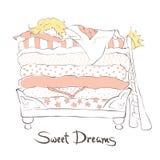 Девушка спать сладостно на принцессе кровати и горохе бесплатная иллюстрация