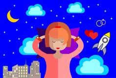 Девушка спит в ее кровати и видит яркие мечты сердитой шток иллюстрации конструкции под вектором иллюстрация штока