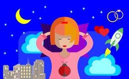 Девушка спит в ее кровати и видит яркие мечты сердитой шток иллюстрации конструкции под вектором бесплатная иллюстрация