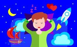 Девушка спит и видит яркие мечты сердитой шток иллюстрации конструкции под вектором бесплатная иллюстрация