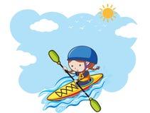 Девушка сплавляться на солнечный день иллюстрация вектора