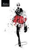 Девушка способа в эскиз-типе плакат ретро Стоковая Фотография