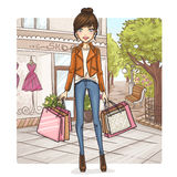 Девушка способа на покупке Стоковое Изображение RF