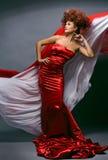 девушка способа платья красотки redheaded стоковое фото