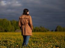 Девушка стоит в поле одуванчиков с ее задней частью в лучах выравниваясь солнца стоковые изображения rf