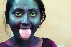 девушка стороны цвета смазала стоковая фотография rf