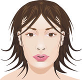 девушка стороны иллюстрация вектора