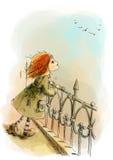 Девушка стоя на мосте иллюстрация вектора