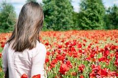 Девушка стоя от задней стороны предусматривая wi поля цветков мака Стоковое фото RF