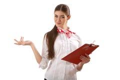 Девушка стоя с папкой Стоковые Изображения