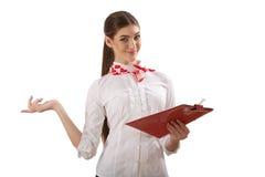 Девушка стоя с папкой Стоковое Изображение