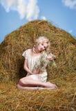 Девушка страны на сене Стоковое Фото