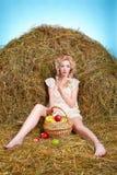 Девушка страны на сене Стоковые Изображения