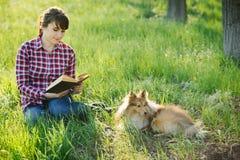 Девушка студента уча в природе с собакой Стоковое Изображение