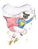 Девушка супергероя с пустым знаменем для вашей литерности, акварель и клиппирование маскируют метод бесплатная иллюстрация