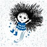 девушка счастливая Doodle иллюстрация стиля нарисованная рукой, линия искусство вектора иллюстрация штока