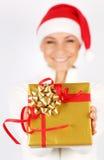 девушка счастливый santa подарка Стоковые Изображения