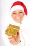 девушка счастливый santa подарка Стоковое фото RF