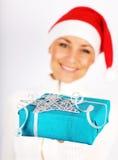 девушка счастливый santa подарка Стоковые Фото