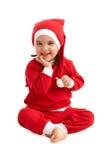 девушка счастливый santa costume стоковое изображение