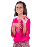 Девушка с арбузом отрезанным формой вне II сердца Стоковая Фотография RF