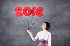 Девушка с датой 2016 Стоковое Изображение