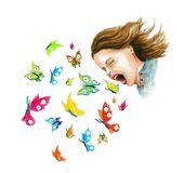 Девушка с бабочками, график футболки бесплатная иллюстрация