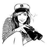 Девушка с биноклями Стоковые Фото
