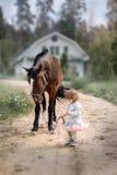 Девушка с большой лошадью стоковое фото