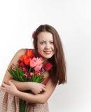Девушка с букетом стоковые фото
