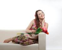 Девушка с букетом стоковые фотографии rf
