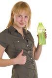 Девушка с бутылкой с водой Стоковое Изображение RF