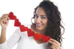 Девушка с венком сердца Стоковое Изображение RF