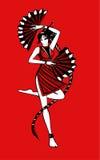 Девушка с вентилятором Стоковое Фото