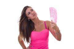 Девушка с вентилятором Стоковое Изображение RF