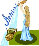 Девушка с водолеем воды и текста иллюстрация вектора