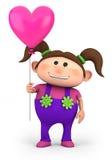 Девушка с воздушным шаром сердца иллюстрация штока