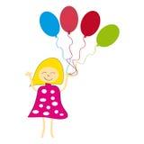 Девушка с воздушными шарами на белой предпосылке иллюстрация вектора