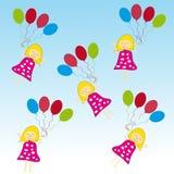 Девушка с воздушными шарами на белой предпосылке иллюстрация штока