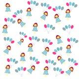 Девушка с воздушными шарами на белой предпосылке бесплатная иллюстрация
