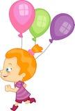 Девушка с воздушными шарами партии Иллюстрация вектора