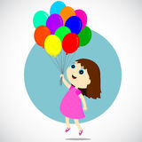 Девушка с воздушными шарами Стоковая Фотография