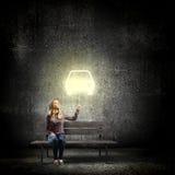 Девушка с воздушным шаром Стоковое Изображение