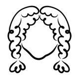 Девушка с волнистыми волосами, заплетенными в 2 отрезках провода, черный план иллюстрация штока