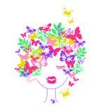 девушка с волосами бабочки, печатью футболки детей иллюстрация штока
