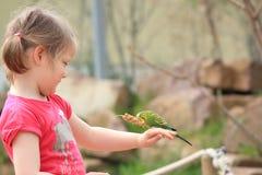 Девушка с волнистым попугайчиком Стоковое Изображение